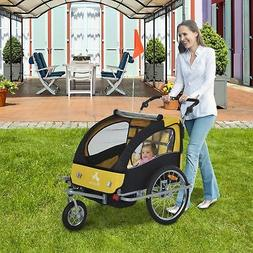 3-in-1 Double Child Baby Kids Bike Trailer Jogger Stroller &