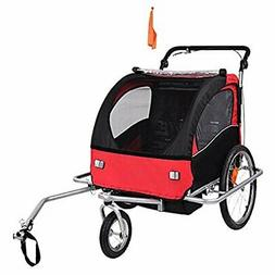 Baby Diego 2-in-1 Double Bike Trailer and Jogger - Red/Black