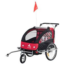 Festnight 3-in-1 Double Child Bike Trailer Bicycle Cargo Lug