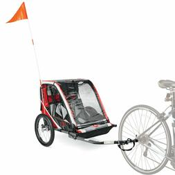 2-Child Bike Trailer Outdoor Sports Fun Transports Play Ligh