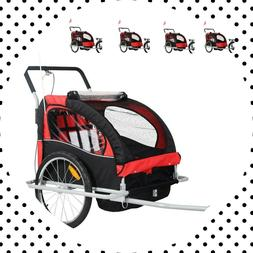 2 in 1 Double Baby Bicycle Trailer Carrier Bike Kids Jogger