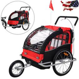 Child Baby 2 in 1 Double Bike Trailer Bicycle Carrier Jogger