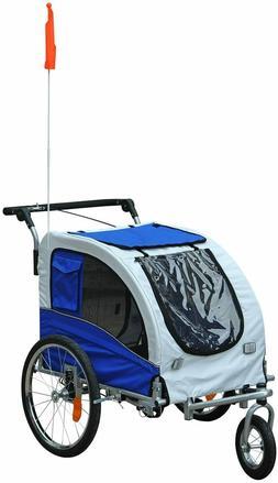 2 in 1 Pet Bicycle Trailer Stroller Suspension Storage Dog O