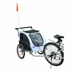 2 IN 1 Pet Trailer Dog Cat Bike Bicycle Trailer Stroller Car