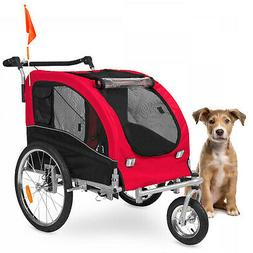 2-in-1 Sturdy Safe Pet Travel Stroller and Bike Trailer w/ H