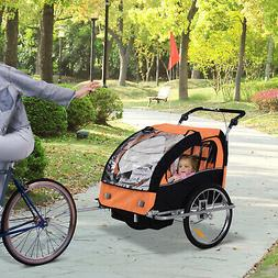 2-Seat Kid Bicycle Trailer / Jogger with Windows and Canopy