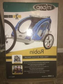 2 Seater Bike Trailer Blue Padded Zipper Bug Screen Folding