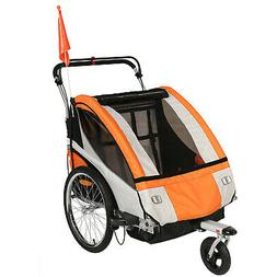 Clevr 3-in-1 Double Seat Bike Baby Child Folding Trailer Jog