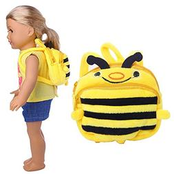 AMOFINY New Cute Honeybee Double Straps Backpack Schoolbag G