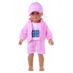 AMOFINY 4PC New Hat + T-shirt + Coat + Pants DIY Doll Girl &