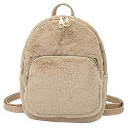 Backpack Women Girl Plush Student Solid Color Travel School