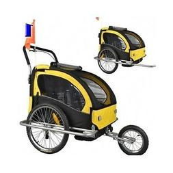 Bicycle Double Kids 2 in 1 Bike Trailer Jogger Child Baby Ca