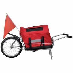 Bicycle Trailer Cargo Single Wheel Cart with Red Storage Bag