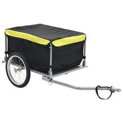 vidaXL Bike Cargo Trailer Black and Yellow 143.3 Pound Cart