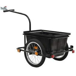 vidaXL Bike Cargo Trailer Spacious Black 52.8 Quart Cart Whe