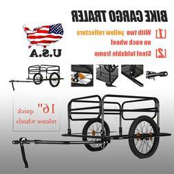 Black Steel Frame Bicycle Bike Cargo Trailer Luggage Cart Ca