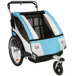 Clevr Collapsible 3-in-1 Double Bicycle Trailer Baby Jogger/