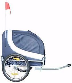 comfy pet bike trailer blue white