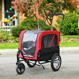 Deluxe 2-in-1 Pet Jogging Stroller Dog Cat Carrier Bike Bicy
