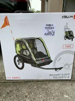 Allen Sports Deluxe 2 child Bike Trailer Carrier & Stroller