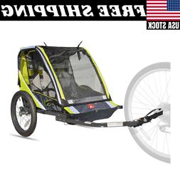 Allen Sports Deluxe 2-Child Bike Trailer Folding Design Gree