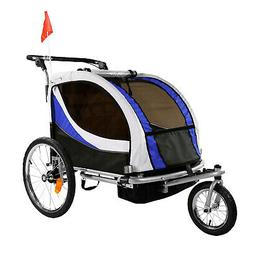 Clevr Deluxe 3-in-1 Bike Trailer Stroller Jogger for Kids, B