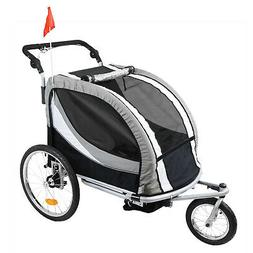 Clevr Deluxe 3-in-1 Double Seat Bike Trailer Stroller Jogger