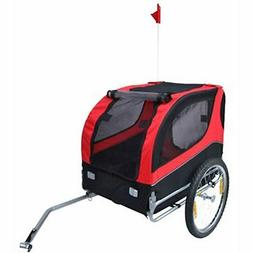vidaXL Dog Bike Trailer Foldable Lassie Red Bicycle Pet Anim