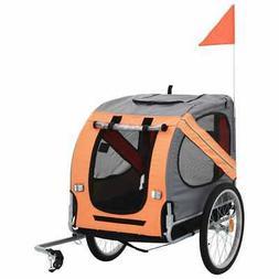 vidaXL Dog Bike Trailer Foldable Sturdy Pet Flag Stroller Jo
