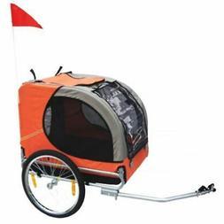 vidaXL Folding Pet Bicycle Cycling Trailer Orange Dog Cat Bi