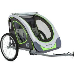 Double Child Bicycle Trailer Green Reflective Two Seats Air