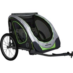 Double Child Reflective Trailer, Gray/Green, Bicycle, Family