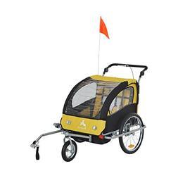 Elite II 2 in 1 Double Baby Bike Trailer, Yellow / Black