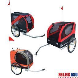 Folding Pet Bicycle Trailer Dog Cat Bike Carrier w/Drawbar H