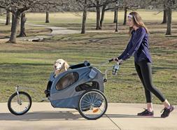 Solvit HoundAbout II Aluminum Bike Trailer for Dogs Holds Pe
