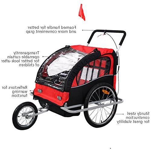 Giantex Child Double Foldable Jogger Outdoor Resistant for 2 Baby Bike Trailer W/Canopy Cover, Safety & Brake