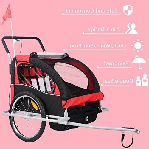 Giantex Child Double Jogger Stroller Resistant Deluxe Seat 2 Bike Trailer Cover, Safety Belt & Brake
