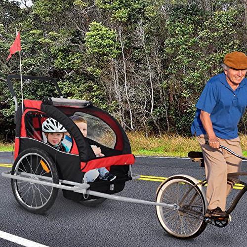 Giantex Bicycle Double Jogger Stroller Outdoor 2 Kids Portable Safety Brake