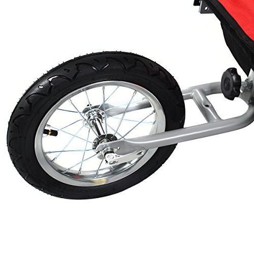 Giantex Child Double Bike Jogger Outdoor Weather Resistant Deluxe 2 Kids Bike Trailer Safety Belt & Brake