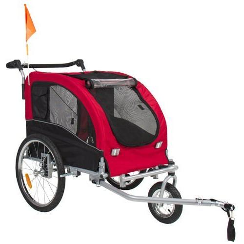 2 1 Dog Bike Bicycle Trailer Stroller Jogging Suspension
