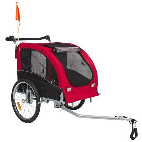 2 IN 1 Dog Trailer Bicycle Trailer Stroller Jogging Suspension Red