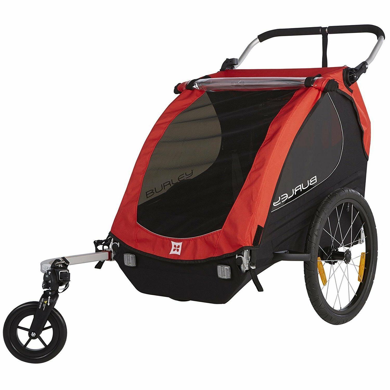 Red 2 Child Bicycle Trailer 1 Wheel Stroller Jogger Kit Kid