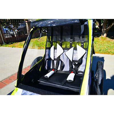 2-Child Outdoor Trailer Kids Carrier Cart Bicycle Attachment