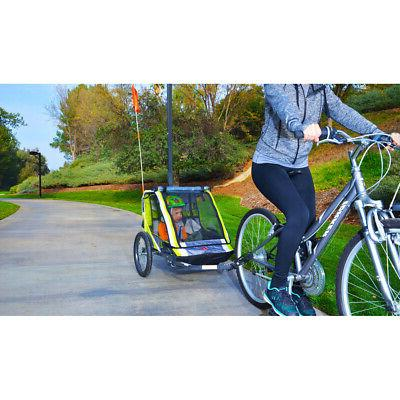 2-Child Bike Trailer Kids Cart Bicycle