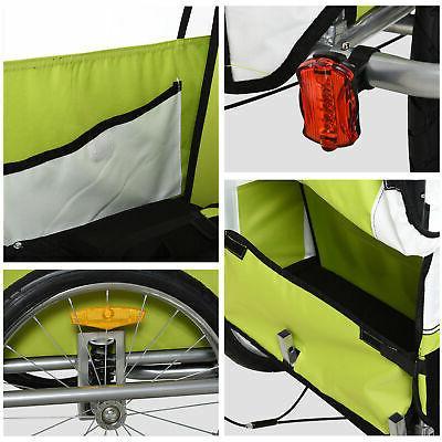 2 2-Seat Child Baby Trailer Stroller w/ Brake