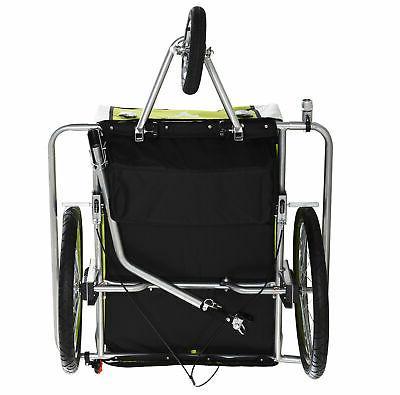 2-Seat Baby Trailer Stroller w/ Hand Brake