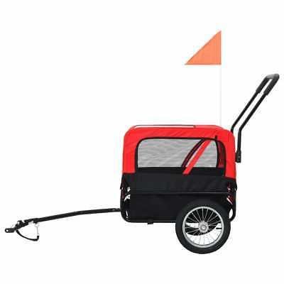 vidaXL 2-in-1 Pet Bike Trailer Stroller Flag Dog