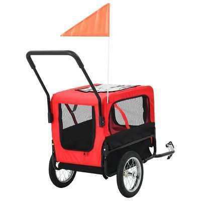 vidaXL Pet Bike Trailer & Jogging Stroller Flag Dog Gray/Red