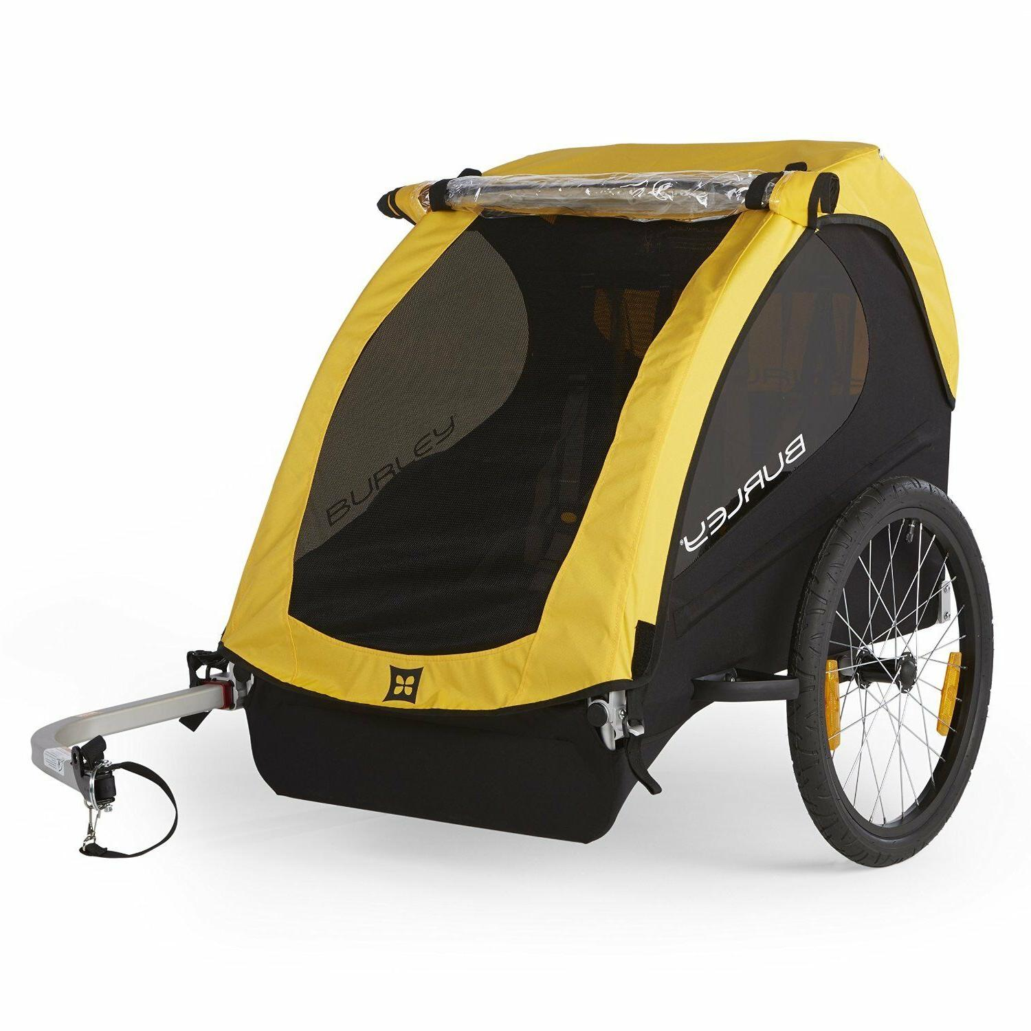 Yellow 2 Child Steel Bicycle Trailer Bike Kid Cargo Carrier