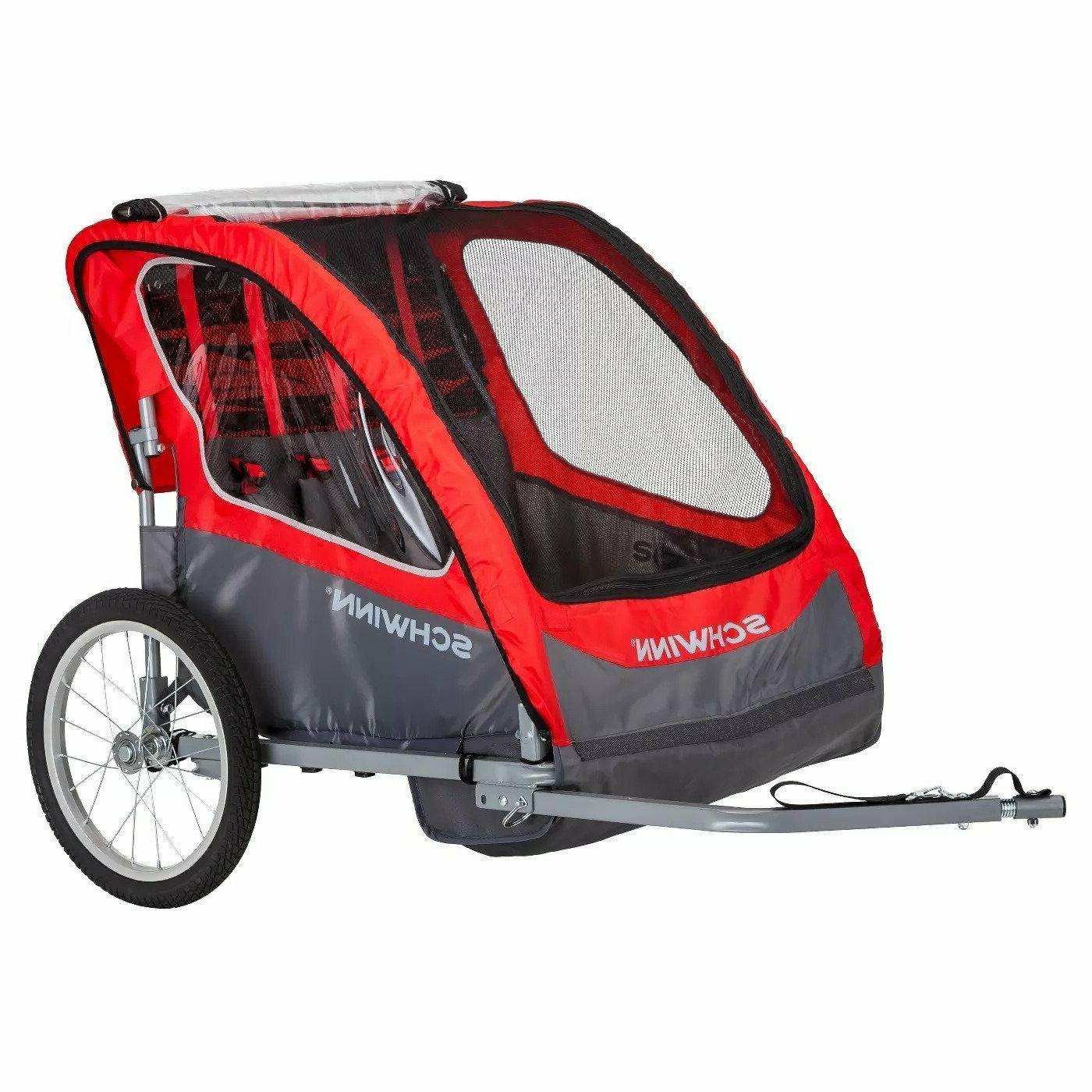 caribou double bicycle trailer red